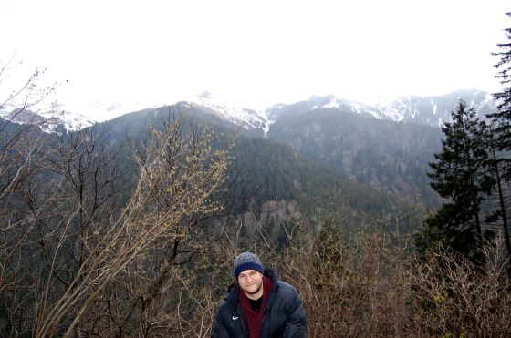 Handsome Kenny and some snowy mountain tops